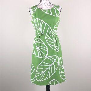 Harold's green white leaf fitted sheath dress Sz 6